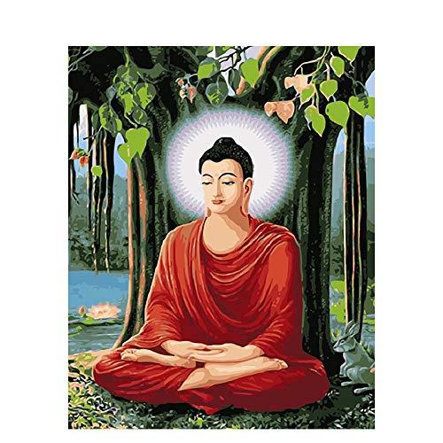 DIY Ölgemälde Malen nach Nummer Kit für Kinder Erwachsene Anfänger 40 x 50 cm Buddha-Statue Unter Dem Großen Baum Zeichnen mit Pinsel Weihnachtsdekor Dekorationen Geschenke (Kein Rahmen)