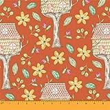 Soimoi Orange Heavy Canvas Stoff Treehouse & Freesia Floral