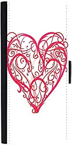 Snoogg Abstract Heart Vector Graphic Snap On Hard Back Leather + Pc Flip Cove...