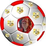 Tortenaufleger Fussball Fußball in 3D-Optik für einen tollen 3D-Effekt mit Foto & Vereinslogo Vereinswappen Rund 20 cm FB05 (Rot)