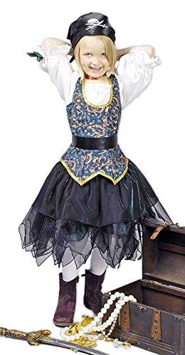 Piratin Angelica Seeräuberin Kostüm für Kinder Gr. 140 152 - Tolles Piraten Seeräuber Kostüm für Mädchen zu Karneval und Mottoparty ()