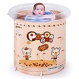 HUANGDA Tragbares aufblasbares Bad-Pool für Babys und Kleinkinder, Größe: 70 * 70 * 80cm (Color : Brown Yellow)