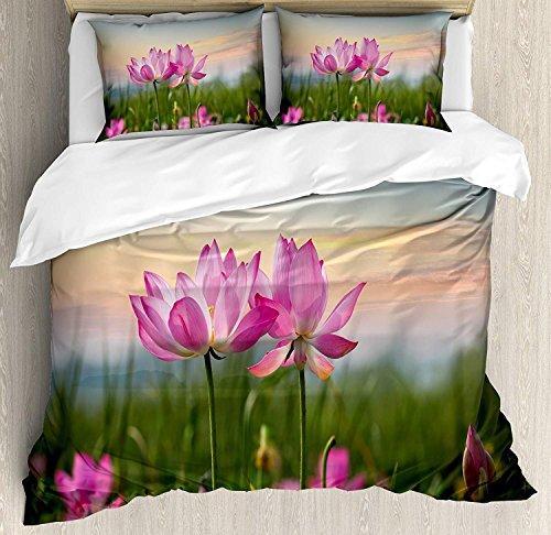 Lotus 3-teiliges Bettwäscheset Bettbezug-Set, Schöne asiatische Blume, die im Frühling auf der Wiese im natürlichen Zen-Garten blüht, 3-teiliges Tröster- / Qulit-Bezug-Set mit 2 Kissenbezügen, Hellros -