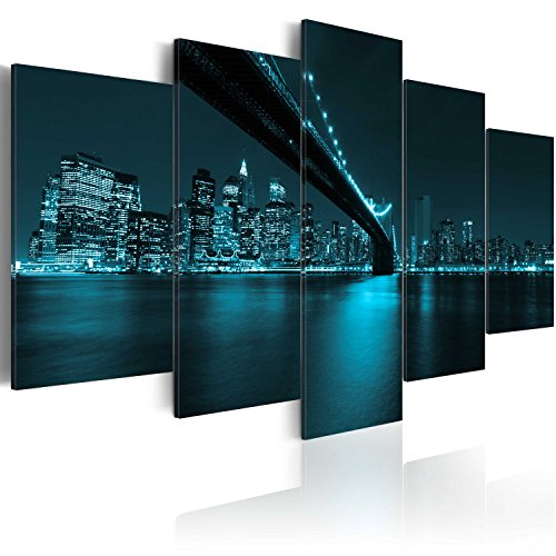 murando - Bilder New York 200x100 cm Vlies Leinwandbild 5 tlg Kunstdruck modern Wandbilder XXL Wanddekoration Design Wand Bild - City Stadt Panorama Brücke schwarz blau 030111-61