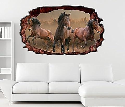 3D Wandtattoo Pferde Galopp Herde Krieg braun Hengst selbstklebend Wandbild sticker Wohnzimmer Wand Aufkleber 11F376, Wandbild Größe F:ca.
