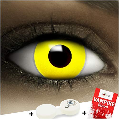 Farbige gelbe Kontaktlinsen Gelb + Kunstblut Kapseln + Behälter von FXCONTACTS®, weich, ohne Stärke als 2er Pack - perfekt zu Halloween, Karneval, Fasching oder Fasnacht