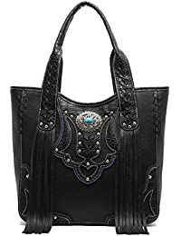 Cowgirl Trendy Western Handbag - Classic Concho Embossed Concealed Carry Tote Bag With Fringe