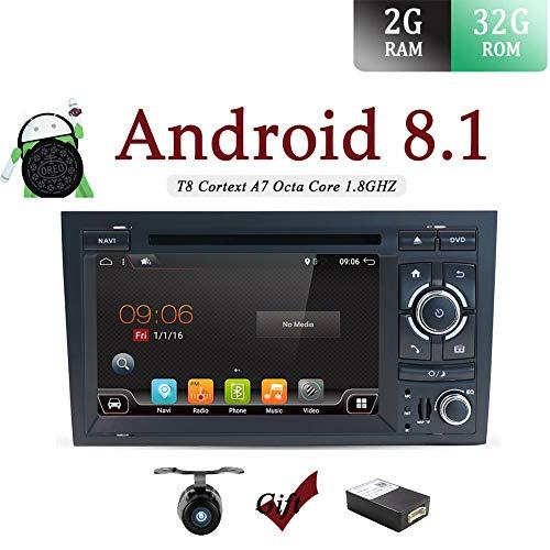 Android 7.1Doppel Din Auto Stereo für Audi A4(2003-2011) CD DVD Player Autoradio GPS Bluetooth 1024* 600Head Unit Unterstützung Spiegel Link DAB + Subwoofer WLAN AV Out SWC Aux Canbus & Kamera