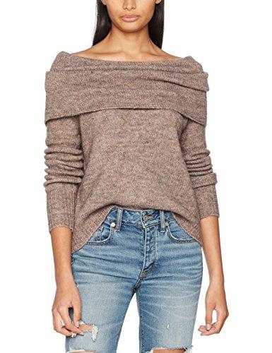 ONLY Damen Pullover Onlbergen L/S Off Should Pull Knt Noos, Braun (Deep Taupe:W. Melange), 36 (Herstellergröße: S) (Damen-pullover Strickmuster)