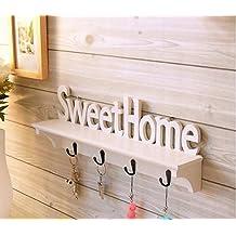 """Estante de pared con texto """"Sweet Home"""" y colgador de llaves para decorar su dormitorio, sala de estar, etc."""