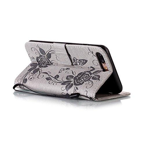 C-Super Mall-UK Apple iPhone 7 Plus hülle: Qualität Exquisite Funkeln Bling Strass Geprägtes Blumen & Schmetterling-Muster PU-Leder-Mappen-Standplatz -Schlag-hülle für Apple iPhone 7 Plus(azurblau) gray(bling)