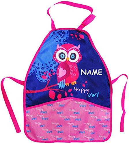 alles-meine.de GmbH Kinderschürze -  lustige Eule auf dem Baum  - incl. Name - größenverstellbar & mit 2 Taschen - Schürze / beschichtet & wasserdicht - für Jungen & Mädchen - .. -