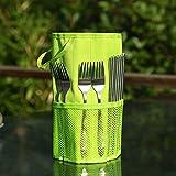 SwirlColor Outdoor Picnic Cutlery Storage Bag Portable Canvas Tablewear Holder - Green