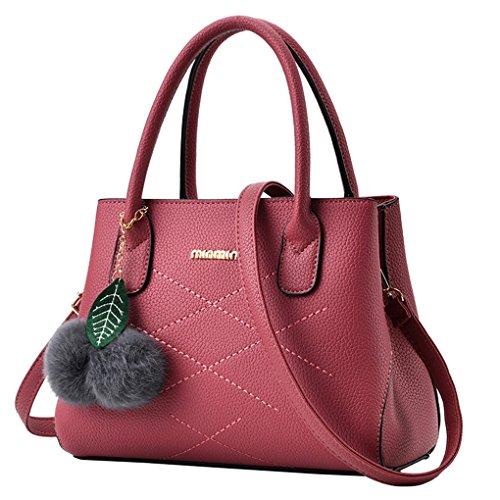 Beiläufige Art- und Weisedame-große Handtaschen-Umhängetasche-Geldbeutel JYJMFrauen Haar Ball Lichee Muster Umhängetasche Schultertasche Handtasche (Größe: 28 cm (L) * 13 cm (W) * 21 cm (H), Rosa) (Kate Stroh Spade)