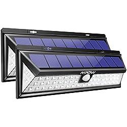 Mpow Foco Solar Exterior, Luz Solar Jardín 54 LED, Gran Ángulo 120°, Impermeable, Proporcionar hasta 12 HORAS con 3 Modos y Sensor de Movimiento para Jardín, Patio, Garaje, Camino, 2 Piezas