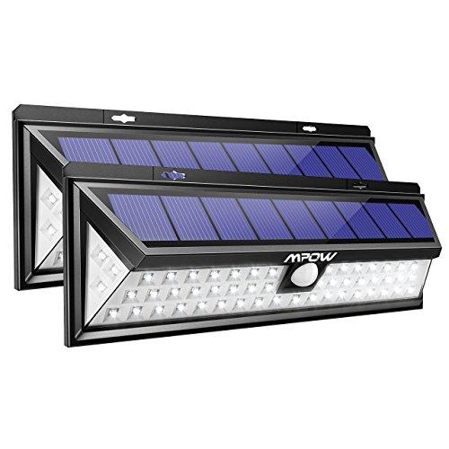 Mpow 54 LED Solarleuchte Außen Wasserdichte Solarbetriebene Lampe mit 120° Weitwinkel Bewegungsmelder Solarlicht für Garten, Terrasse, Auffahrt, Pfad, Hof, Balkon 2 Stück