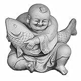 Großer, lustiger Buddha Mönch mit Koi aus Steinguss, frostfest
