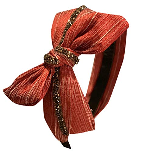 Barlingrock Bow Knot Stirnbänder für Frauen Strass Criss Cross Verknotet Haarband Head Wrap Twisted Cute Haarschmuck Frauen Stirnband Plaid Stirnband Bow Cross Strass Krawatte Stirnband - Feuchtigkeitstransport Cool Mesh Polyester