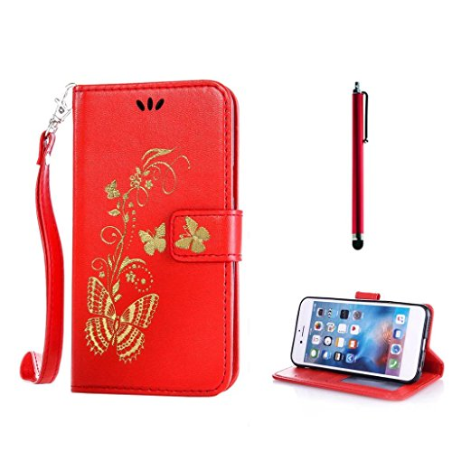 KSHOP PU Ledertasche Rote mit Bronzing Drucken Schmetterling golden für HTC One M8 Hülle Ultra Slim Smart Ledertasche Flip Etui mit Standfunktion stoßdämpfende + Bleistift Touch Rote
