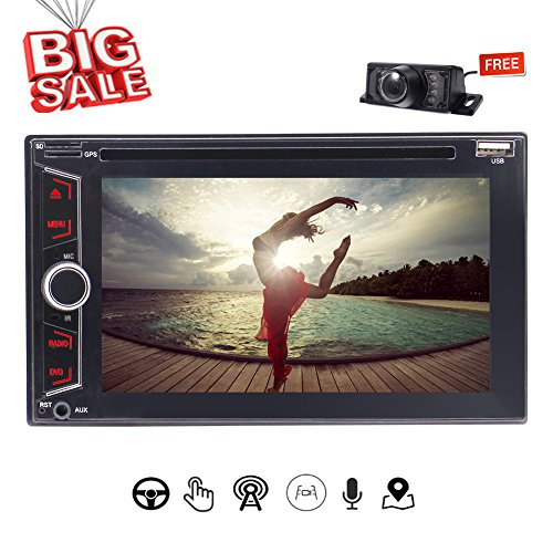 EINCAR Wince Navigation Universal Car Doppel Din In-Dash GPS Stereo mit kapazitivem Touch Screen Support CD DVD GPS Radio-BT USB SWC RDS 1080P Muti-UI Bunte Button Free Backup-Kamera (In Dash Stereo With Backup Camera)