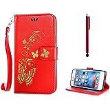 KSHOP d'accessoire pour HTC Desire 820 Wallet Case Coque Etui PU Cuir Portefeuille Housse [Fermeture magnétique] [Slots de cartes] Résistant aux Rayures Shell - Bronzage Papillon Rouge + Stylet Pen