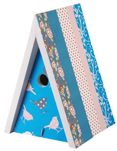3 Stück Esschert Design Nistkasten, Vogelhaus, bunt bedruckt, ca. 18 cm x 18 cm x 28 cm