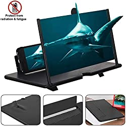 lesgos Agrandisseur d'écran pour Smartphone, 12 Pouces Loupe d'écran 3D, Grand écran HD, Aocle de Support Pliable Compatible avec Tous Les Smartphones