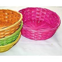 4 er SET ( = 4 Stück ) Liebevoll gestaltete Körbe aus Bast - vierfarbig ( gelb/grün/orange/pink) - Größe je 22,5 cm x 7,5 cm