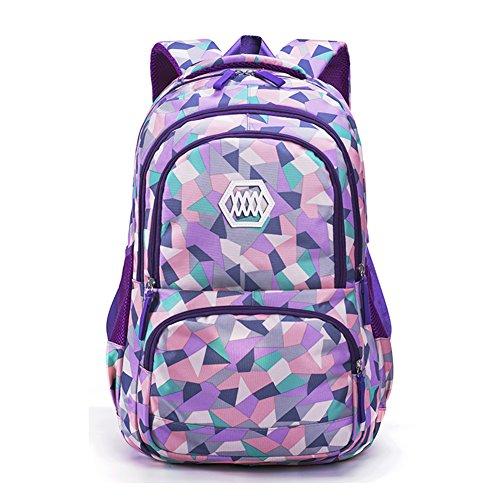 3e87336f4 Fanci Geometric Prints Primary School Student Satchel Backpack for Girls  Waterproof Preppy Schoolbag