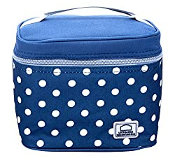 Lock & Lock Plastic Lunch Box with Polka Bag Set, 4-Pieces, Blue