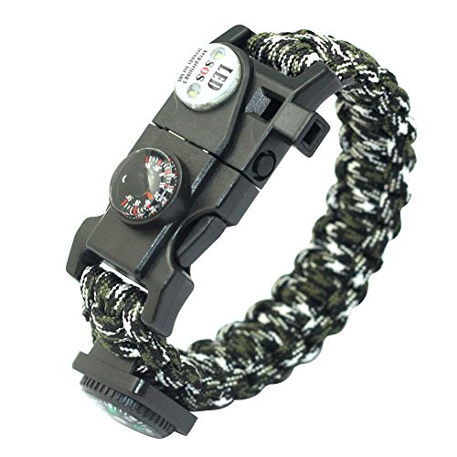 Foru-1 Outdoor Multifunktions Paracord Survival Armband mit Kompass Thermometer