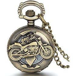 JewelryWe - Reloj de bolsillo con cadena, diseño de moto, estilo vintage