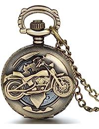 Reloj de bolsillo para Hombre, estilo vintage, con diseño de motocicleta, de JewelryWe - Con movimiento de cuarzo y cadena incluida, Regalos Originales para Hombre, Regalos para Navidad