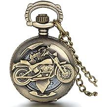Reloj de bolsillo estilo vintage, con diseño de motocicleta, de JewelryWe - Con movimiento