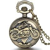 JewelryWe - Reloj de bolsillo con cadena, diseño de moto, estilo vintage - JewelryWe - amazon.es