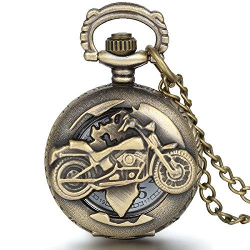 Reloj de bolsillo estilo vintage, con diseño de motocicleta, de JewelryWe - Con movimiento de cuarzo y cadena incluida, ideal también como collar