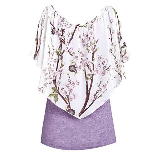 , Bluse Frauen Sommer Strand Blumen Weste Top Ärmellos Bluse Casual Tank Lose T-Shirt (Lila, XX-Large) ()