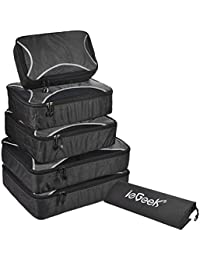 6 Set Packing Cubes, ieGeek Durable Space Saver Bags Travel Luggage Packing Organizers Storage Bags Compression Pouches Packing Set with Laundry/Shoe Bag Carry-on Suitcase Luggage Backpack Storage Set