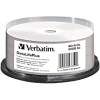Verbatim Bd-R Dl 50 Gb/Tarrina 1-6X (25 Disc) Blu-Ray, Datalifeplus, Para Imprimir Térmica, White Fullsiz