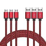 Micro USB Kabel Nylon, BeneStellar (3 Pack 1,8m) High Speed USB 2.0 A Male auf Micro B Synchronisations und Ladekabel für Android, Samsung, Huawei, HTC, Sony, Nexus, Xiaomi und mehr (Rot 1,8m)