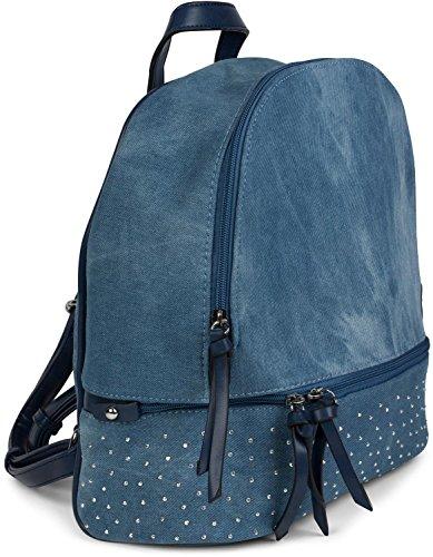 styleBREAKER Jeans Rucksack Handtasche mit Strass und Reißverschluss, Tasche, Damen 02012177, Farbe:Hellblau / Braun Blau / Blau