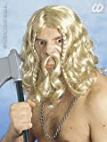 Mens Long Blonde Viking Wig With Moustache Troy Troll Fancy Dress