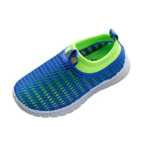 Jungen Mädchen Schuhe Kinder Jugendliche Süßigkeiten Farbe Stoff Mesh Beiläufig Weich Atmungsaktiv Elastisch Sport Turnschuhe (EU23, Blau) (Jordan Schuhe Größe 5)