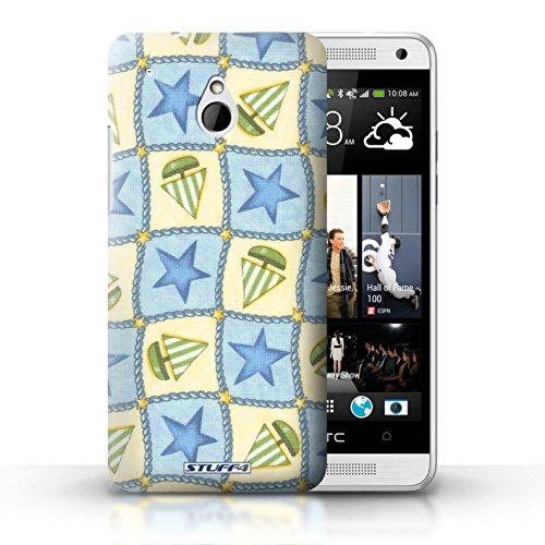 Kobalt® Imprimé Etui / Coque pour HTC One/1 Mini / Violettes/Vertes conception / Série Bateaux étoiles Bleu/Vert