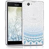 kwmobile Funda para Sony Xperia Z1 Compact - Case para móvil en TPU silicona - Cover trasero Diseño sol indio en azul blanco transparente