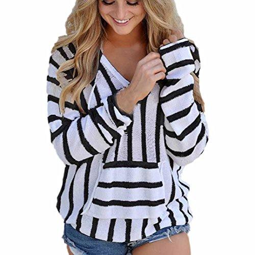 Pullover damen Strickpullover Langarm Sonnena Gestreifte Strickwaren Pullis mit V-Ausschnitt Bluse Tops (Asian XL, Schwarz)