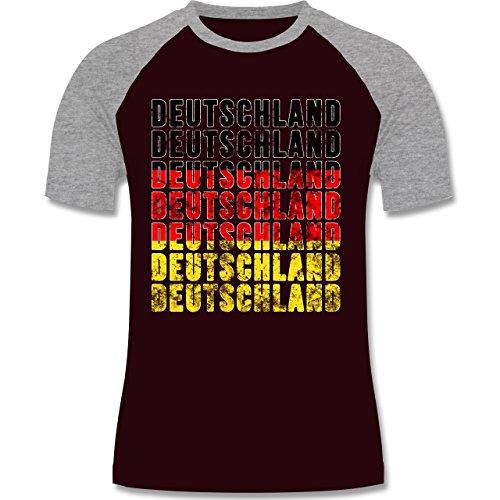 EM 2016 - Frankreich - Deutschland Grunge Typo - zweifarbiges Baseballshirt für Männer Burgundrot/Grau meliert
