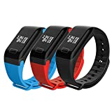 JSGJSH Schickes Armband F1 Smart Armband 0,66 OLED Display Blutdruck Bracelet Watch Pulsmesser Smart Band Fitness Tracker für Android iOS - Schwarz