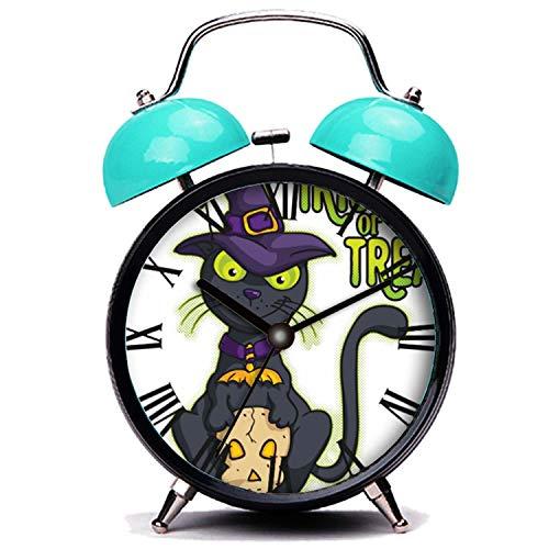 girlsight Blauer Wecker, Nette Katze Halloween Schwarze Hexe Katze Trick oder behandeln es Twin Bell Wecker mit Nachtlicht (Trick Oder Behandeln Halloween-nacht)