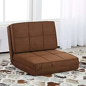 Homcom poltrona letto pieghevole convertibile in letto giovanile realizzata in suede marrone - Letto pieghevole amazon ...